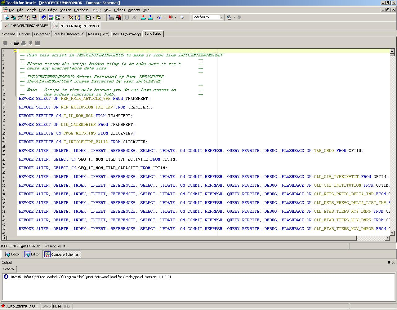TOAD résultat comparaison schéma - script mise à niveau d'environnement Oracle